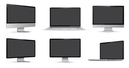 Blank Screens Vector Illustration Set With Different Views.