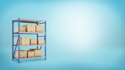 Several carton boxes placed on a metal warehouse rack on blue background.