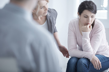 Worried woman on therapy