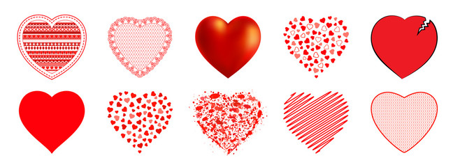 The hearts  for  Mother's Day, Valentine's Day or weddings, emotions and feelings