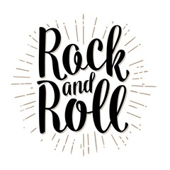 Rock and Roll lettering with rays. Vintage vector