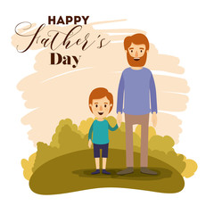colorful card of landscape with dad and son on the fathers day vector illustration