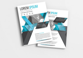 Brochure Layout with Cyan and Gray Accents 1