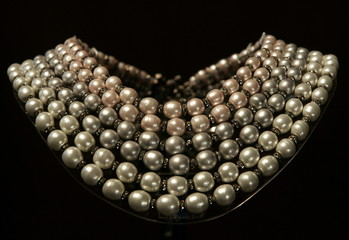 Pearls make up a prototype of an Audrey Hepburn necklace at a pearl exhibition in Sydney April 6, 20..