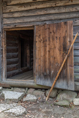 Old log barn door in Tallinn open-air museum ,Estonia