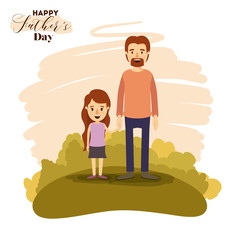 colorful card of landscape with dad and daugther holding hands on the fathers day vector illustration