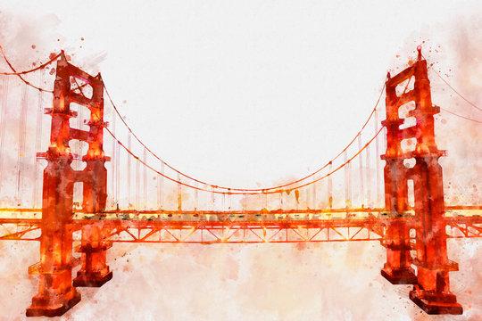 Digital painting of Golden Gate Bridge, watercolor style