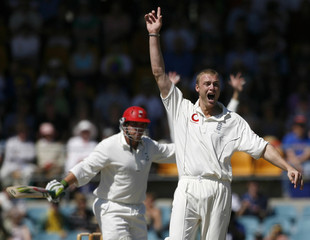 England captain Flintoff appeals for LBW against Cosgrove from the Prime Minister's XI during their match in Canberra