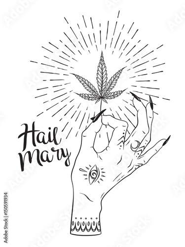 Quot Marijuana Leaf In Female Hand Isolated Over White