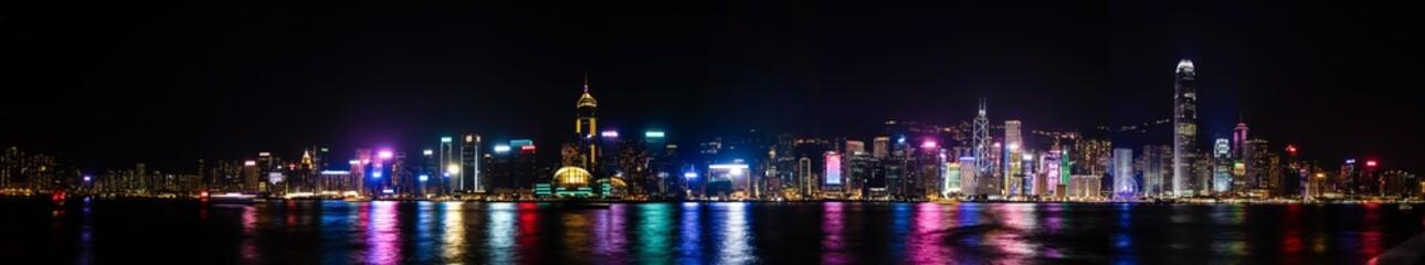Panoramic view of Hong Kong Bay 20000x3680 pixels at night
