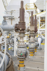 Pressure safety valve install at the top of pressurized container for safety to relief over pressure at offshore oil and gas processing platform.