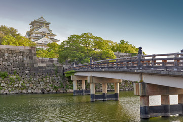 Old wooden bridge to Osaka Castle, Japan most famous historic landmark in Osaka City, Japan