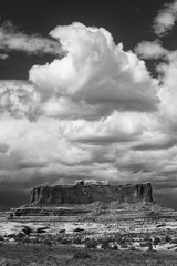 Usa, Utah. Black and white image of approaching rainstorm over Monitor Butte, Colorado Plateau near Canyonlands National Park