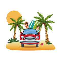 cartoon couple red car surfboard parked on the tropical beach vector illustration