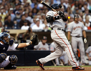 San Francisco Giants' Bonds hits his 755th career home run during the second inning of their MLB National League baseball game against the San Diego Padres in San Diego