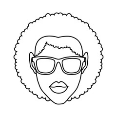 woman with sunglasses icon over white background. vector illustration