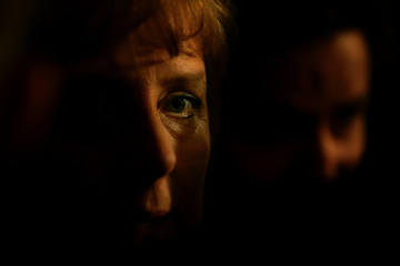 Angela Merkel leader of the Christian Democratic Union is pictured before addressing supporters ...