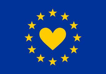 Ich liebe Europa, Europa Sterne, EU Symbol, Europäische Union, Herzschlag,