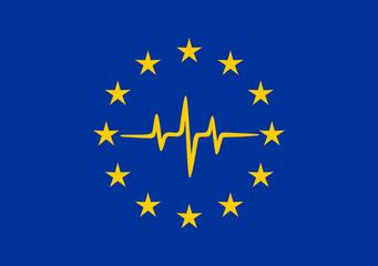 Pulse of Europe, Europa Sterne, EU Symbol, Europäische Union, Herzschlag, Frequenz, Puls