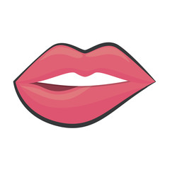sensual pink lips icon over white background. vector illustration