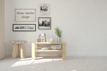 White modern room with table. Scandinavian interior design. 3D illustration