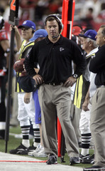 Atlanta Falcons head coach Mora watches closing seconds of loss to New Orleans Saints in second half of NFL football action in Atlanta