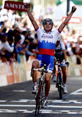 Russia's Ivanov crosses the finish line to win the 44th Amstel Gold Cycling race in Valkenburg