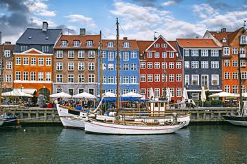The famous Nyhavn harbour in Copenhagen, Denmark