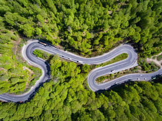 Curved road in the forest. Transylvania, Romania, Europe. Cars passing on road.