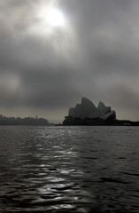 A blanket of fog covers the Sydney Opera House