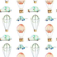 Seamless pattern with watercolor air balloons and cars, hand drawn isolated on a white background