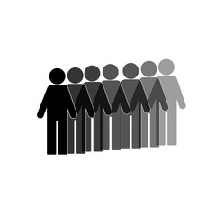flat stick figure, company of symbol people , vector illustration, shodaw of a person, leader