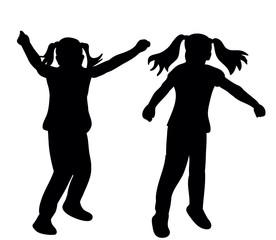 Vector, silhouette little girl dancing