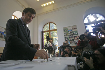 Antonescu, leader of Romania's National Liberal Party, casts his ballot at a polling station in Bucharest