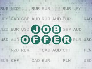 Finance concept: Job Offer on Digital Data Paper background