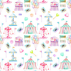 Seamless pattern with watercolor elements of amusement park and candies, hand drawn isolated on a white background