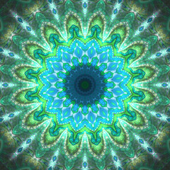 Fractal sun shaped mandala, digital artwork for creative graphic design