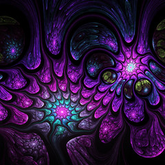 Dark colorful fractal swirls, digital artwork for creative graphic design