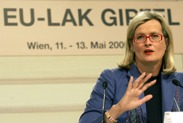 Ausrian Foreign Minister Plassnik adresses a news conference in Vienna