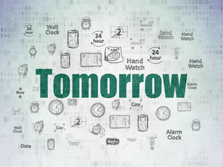 Time concept: Tomorrow on Digital Data Paper background