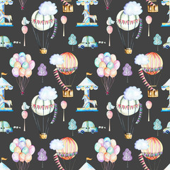 Seamless pattern on weekend theme; watercolor air balloons, aerostats, carousel and cars, hand drawn isolated on a dark background