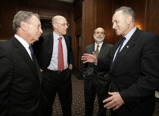 New York City Mayor Bloomberg, Treasury Secretary Paulson, Federal Reserve Chairman Bernanke and Sen. Schumer meet on Capitol Hill