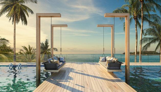 Beautiful Swing sofa on the Swimming pool waters outdoor beach