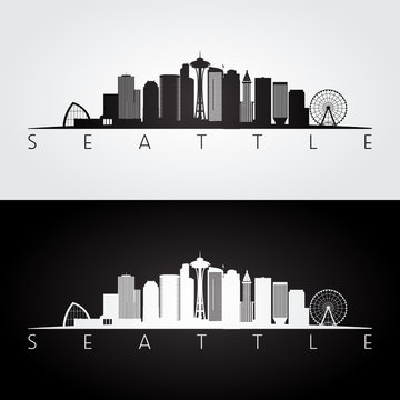 Seattle USA skyline and landmarks silhouette, black and white design.