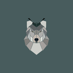Wolf head geometric flat design style.