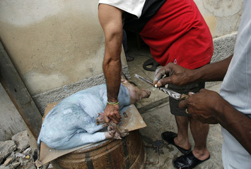 A godfather of Palo religion writes symbols on a sacrificial knife as his godson holds onto a painted pig in Havana