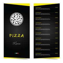 pizza menu food in color illustration