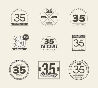 35 years anniversary logo set. Vector illustration.