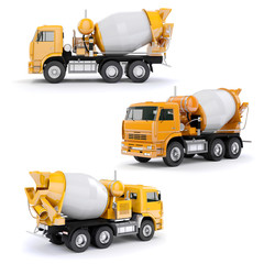3d concrete mixer truck on white background