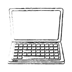blurred silhouette front view laptop computer tech device vector illustration